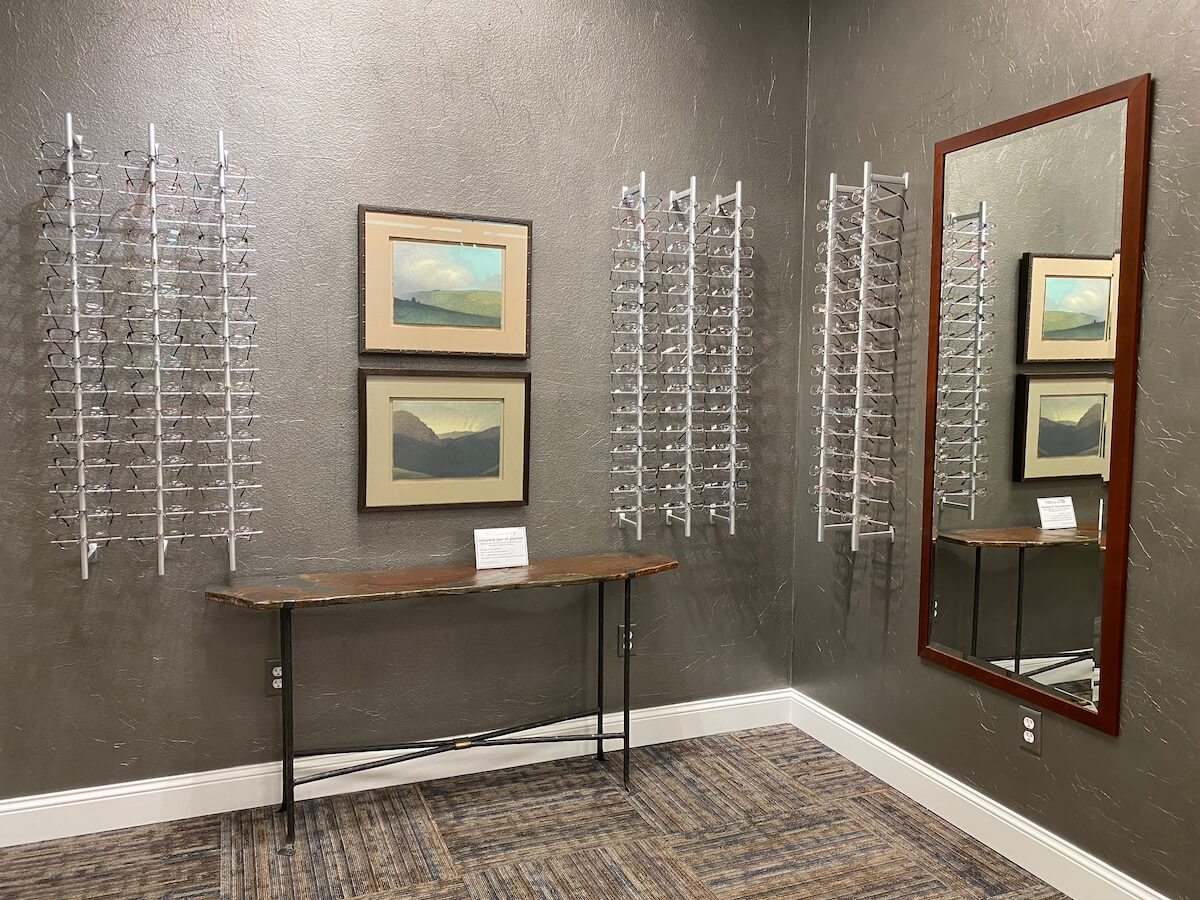 Wall of Glasses in the Beartooth Vision Center Optical