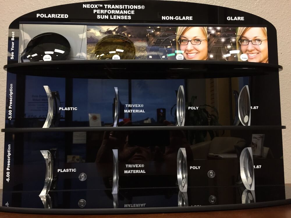 Display Showing Different Lens Customization Options